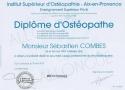 Institut Superieur Osteopathie Diplome Sebastien COMBES